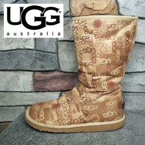 UGG Limited Edition Logo Print Tall Fur Lined Boot